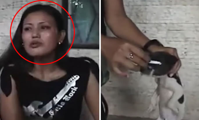 Donna spegne sigaretta sugli occhi e sul muso di un cucciolo